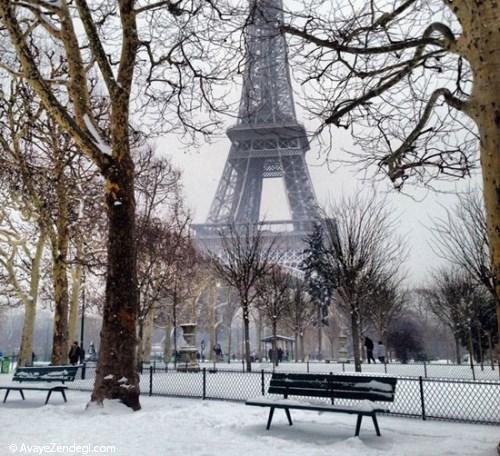 تصاویری زیبا از پاریس برفی
