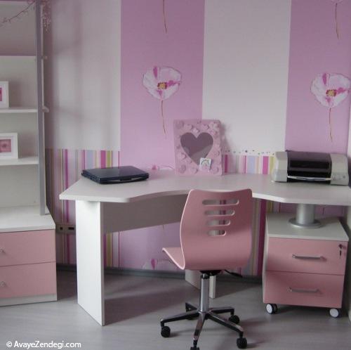 اتاق دخترانه با رنگ های صورتی و بنفش!